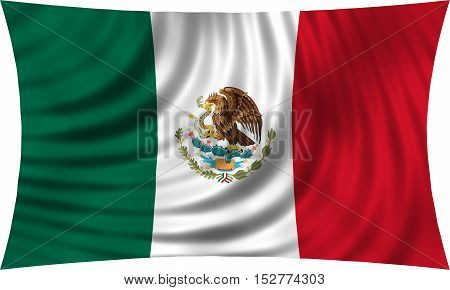 Mexican national official flag. Patriotic symbol banner element background. Correct colors. Flag of Mexico waving isolated on white 3d illustration