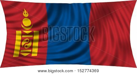 Mongolian national official flag. Patriotic symbol banner element background. Correct colors. Flag of Mongolia waving isolated on white 3d illustration