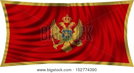 Montenegrin national official flag. Patriotic symbol banner element background. Correct colors. Flag of Montenegro waving isolated on white 3d illustration