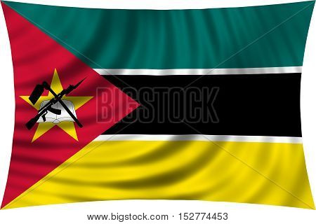 Mozambican national official flag. African patriotic symbol banner element background. Correct colors. Flag of Mozambique waving isolated on white 3d illustration