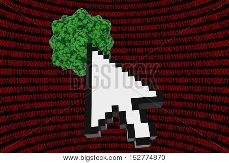 Clicking On A Virus - Computer Virus On Binary Background With Cursor 3D Illustration