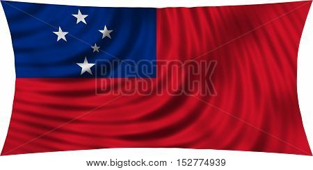 Samoan national official flag. Patriotic symbol banner element background. Correct colors. Flag of Samoa waving isolated on white 3d illustration