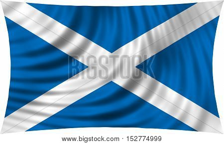 Scottish national official flag. Patriotic symbol banner element background. Correct colors. Flag of Scotland waving isolated on white 3d illustration