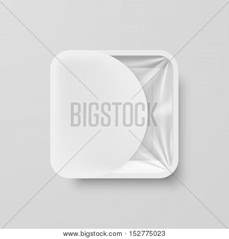 Empty White Plastic Food Square Container with White Label on Gray