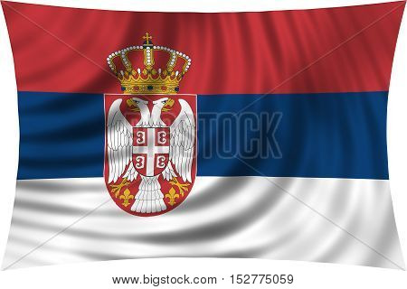 Serbian national official flag. Patriotic symbol banner element background. Correct colors. Flag of Serbia waving isolated on white 3d illustration