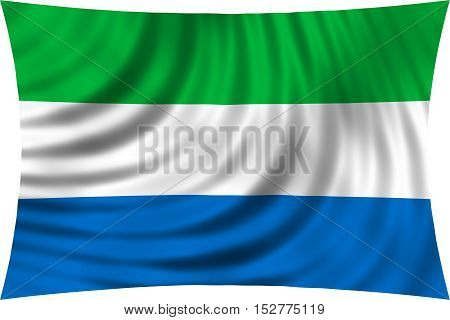 Sierra Leonean national official flag. African patriotic symbol banner element background. Correct colors. Flag of Sierra Leone waving isolated on white 3d illustration