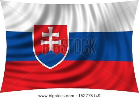Slovakian national official flag. Patriotic symbol banner element background. Correct colors. Flag of Slovakia waving isolated on white 3d illustration
