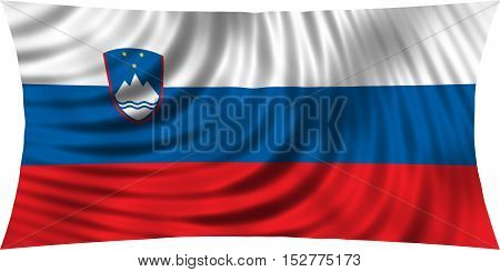Slovenian national official flag. Patriotic symbol banner element background. Correct colors. Flag of Slovenia waving isolated on white 3d illustration