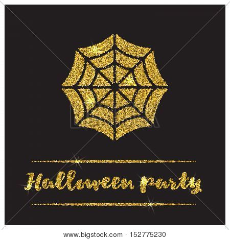Halloween gold textured web icon on black background. Golden design element for festive banner, greeting and invitation card, flyer, tag, poster, postcard, advertisement. Vector illustration.