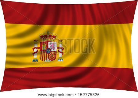 Spanish national official flag. Patriotic symbol banner element background. Correct colors. Flag of Spain waving isolated on white 3d illustration