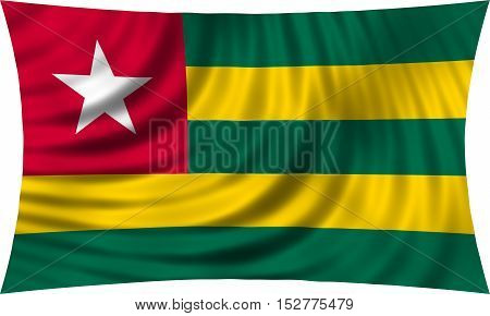 Togolese national official flag. African patriotic symbol banner element background. Correct colors. Flag of Togo waving isolated on white 3d illustration