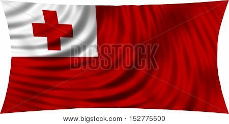 Tongan national official flag. Patriotic symbol banner element background. Correct colors. Flag of Tonga waving isolated on white 3d illustration