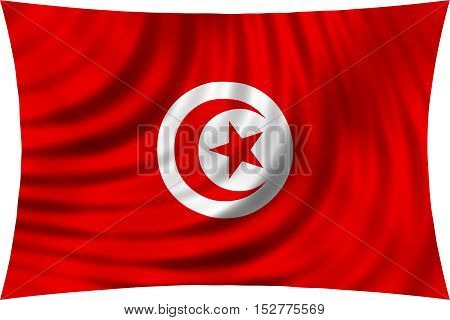 Tunisian national official flag. African patriotic symbol banner element background. Correct colors. Flag of Tunisia waving isolated on white 3d illustration