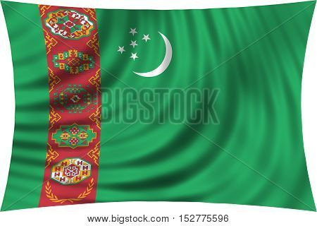 Turkmen national official flag. Patriotic symbol banner element background. Correct colors. Flag of Turkmenistan waving isolated on white 3d illustration