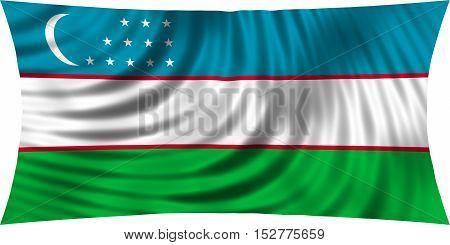 Uzbek national official flag. Patriotic symbol banner element background. Correct colors. Flag of Uzbekistan waving isolated on white 3d illustration