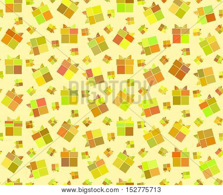 Seamless ornamental holiday pattern with gifts in tints of yellow color in flat style. Vector illustration