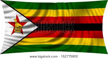 Zimbabwean national official flag. African patriotic symbol banner element background. Correct colors. Flag of Zimbabwe waving isolated on white 3d illustration