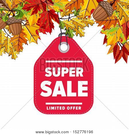 Autumn seasonal sale badge, vector illustration. Super sale, limited offer label on white background with colorful autumn leaves. Red price tag with white text. Autumnal discount.