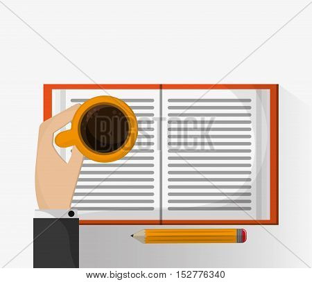 Coffee mug pencil and book icon. Education literature and library theme. Colorful design. Vector illustration