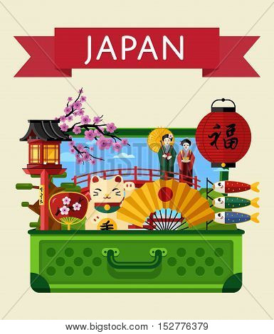 Travel Japan concept with Japan landmarks vector. Adventure in Asia. Japan mountain Fuji. Famous Japan travel places. Explore Japan landmarks. Discover Japan and Japanese culture. Oriental landmarks. Japanese vacation.