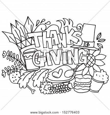 Thanksgiving doodle art hand draw vector illustration