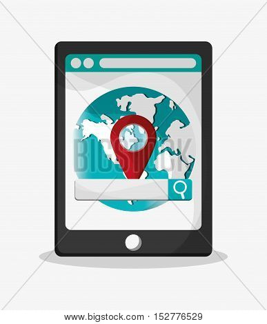 Tablet and planet icon. Social media and digital marketing theme. Colorful design. Vector illustration