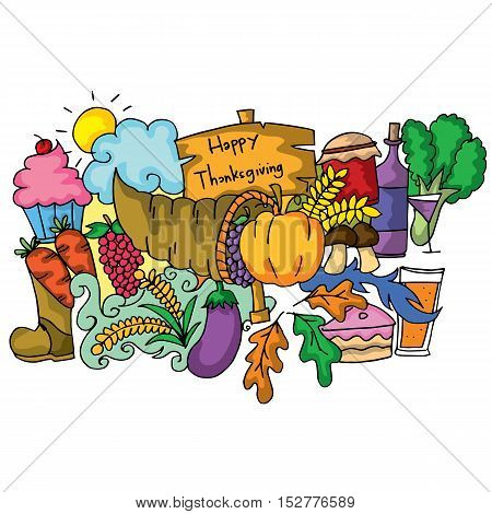 Thanksgiving element of doodle art vector illustration