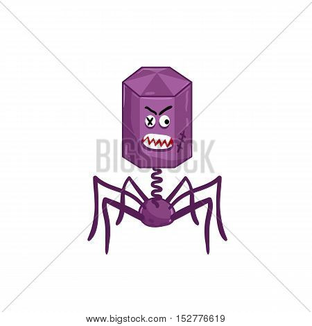 Cartoon virus character vector illustration. Cute fly germ virus infection vector. Funny micro bacteria character. Infection icon. Virus icon. Funny isolated virus characters. Monster virus. Isolated bacteria. Cartoon infection and bacteria symbol