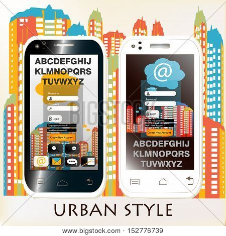 Abstract blank screen phones with urban background. Black and white colors city style