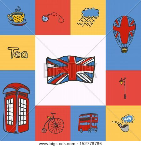 Great Britain checkered concept in national colors. England flag, telephone box, five o'clock tea, bus, lantern, watch, smoking tube, balloon hand drawn vector icons. Country related doodle symbols and text. England vector art. England travel symbols.