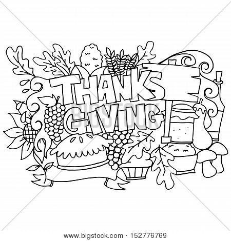 Hand draw element thanksgiving doodle art vector illustration