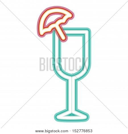 glowing neon cocktail drink with umbrella decoration. vector illustration