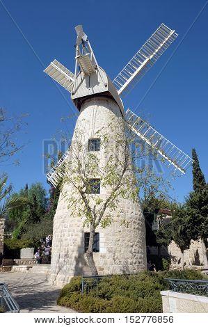 JERUSALEM ISRAEL - OCTOBER 19 2016: Montefiore Windmill in the Yemin Moshe quarter of Jerusalem