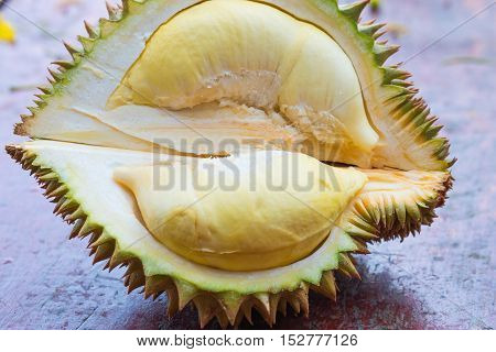 Yellow Durian Thai friut on wood table