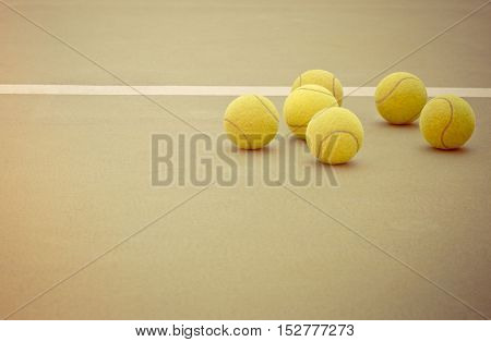 Tennis Ball on the Court Close up vintage