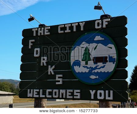 Forks, Washington Welcome Sign