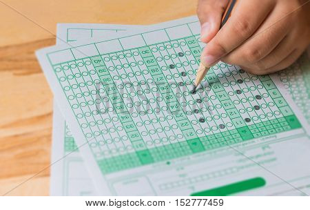 student testing in exercise exams answer sheets