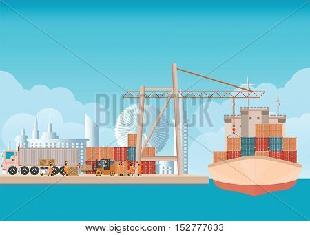Loading containers on a sea freight cargo ship with crane and worker man background with blue sky and clouds transportation flat design vector illustration.