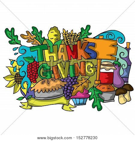 Colorful thanksgiving of doodle art vector illustration