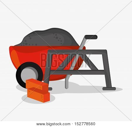 Wheelbarrow and brick icon. Under construction work repair and progress theme. Colorful design. Vector illustration