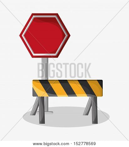 Barrier and stop sign icon. Under construction work repair and progress theme. Colorful design. Vector illustration