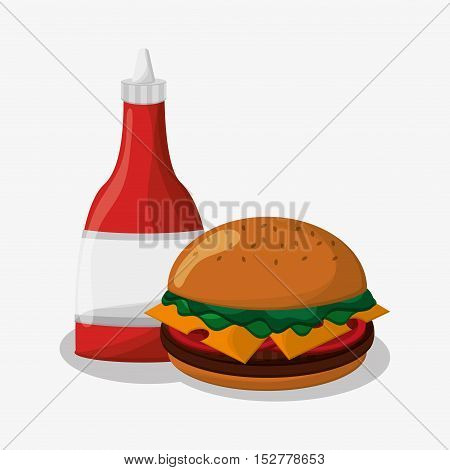 Hamburger icon. Fast food menu and market theme. Colorful design. Vector illustration