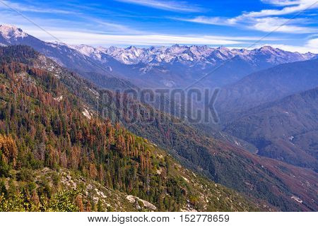 Eastern Sierra Mountains from Moro Rock with blue sky