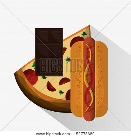 Pizza chocolate and hot dog icon. Fast food menu and market theme. Colorful design. Vector illustration