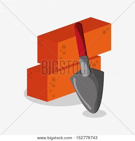 Bricks and shovel icon. Under construction work repair and progress theme. Colorful design. Vector illustration