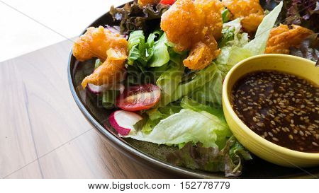 Shrimp Salad With Mixed Vegetable With .sesame Dressing