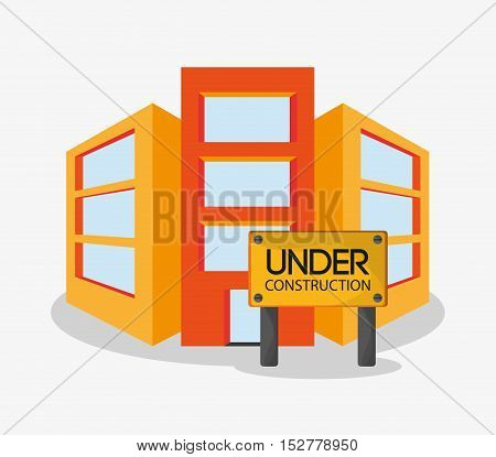 Building icon. Under construction work repair and progress theme. Colorful design. Vector illustration