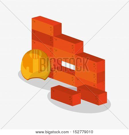 Bricks and helmet icon. Under construction work repair and progress theme. Colorful design. Vector illustration