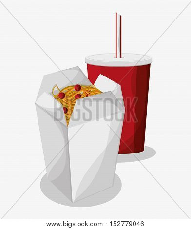 Noodle and soda icon. Fast food menu and market theme. Colorful design. Vector illustration