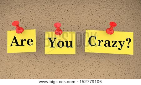 Are You Crazy Nuts Mad Insane Question Sanity Check 3d Illustration